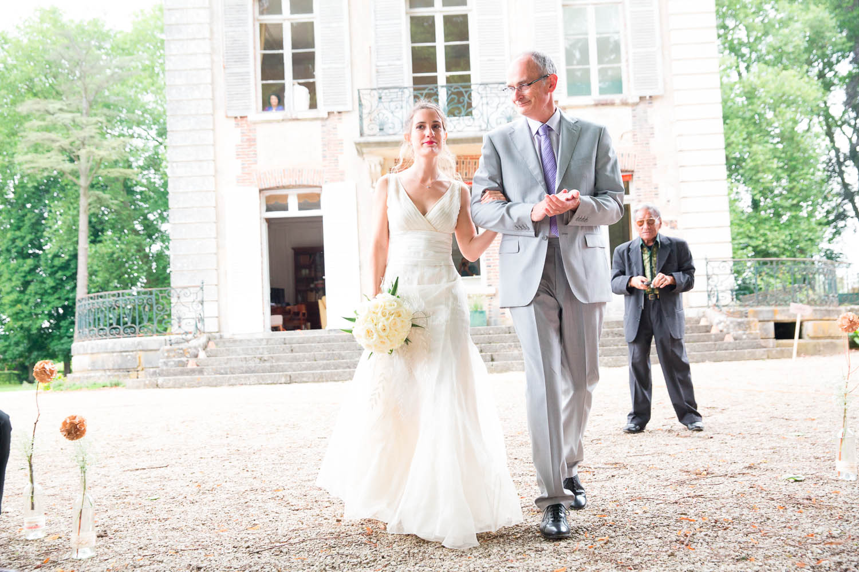 cérémonie exterieure arrivée mariage